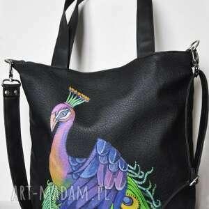na ramię torba z ręcznie malowanym motywem pawia, malowana, paw, bajkowa
