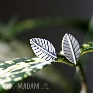 mini silver leaves, sztyfty, drobne, listki, liście, minimalistyczne, naturalne