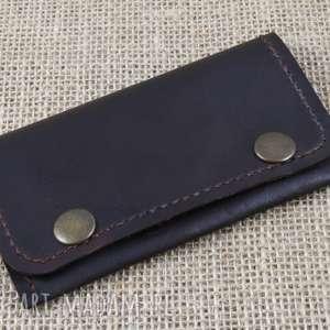 Portfelik z kieszonką na suwak portfele bruno leatherworks skóra
