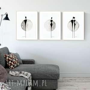 zestaw 3 grafik 30 x 40 cm malowanych ręcznie, malarstwo abstrakcyjne, obraz