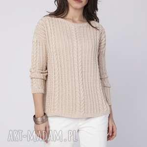 warkoczowy pulower, swe209 beż mkm, warkocze, wygodny, jesień, do pracy