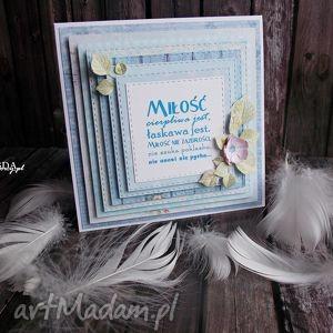 KARTKA MIŁOŚĆ CIERPLIWA JEST, kartka, uniwersalna, ślub, walentynki, handmade