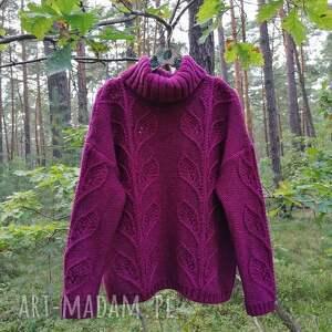 handmade swetry gruby, urocza fuksja oversize