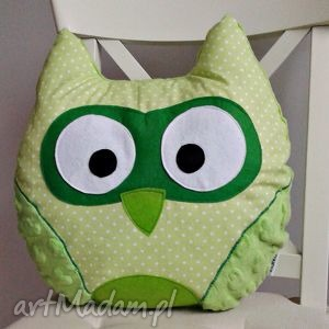 poduszka sowa - zielona - poduszka, sowa, przytulanka, bawełna, minky, kropki