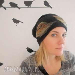 czapka wełniana damska czarna- - wełna, zima, kwiaty, etno, czarna, ciepła