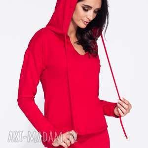 Bluza damska z kapturem okrągły dół Bien Fashion, z-kapturem, taliowana