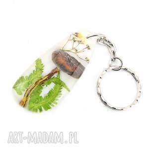 0889 mela brelok do kluczy, żywica, grzyb, liście breloki art