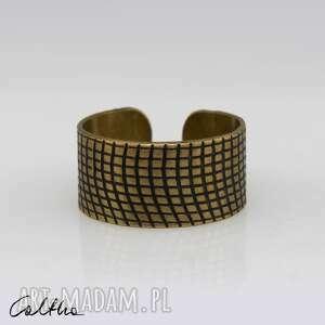 handmade obrączki w kratkę - mosiężna obrączka 130620 -03