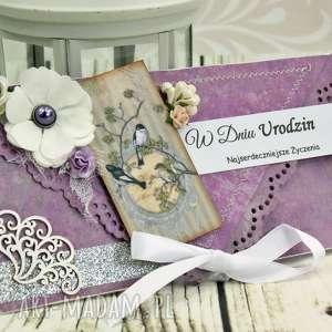 Prezent Kopertówka urodzinowa- srebro w fioletach, urodziny, prezent, ptaki, kwiaty