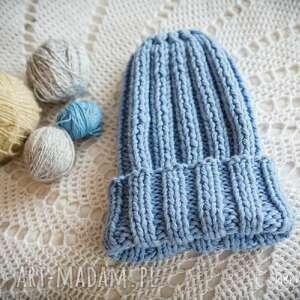 czapki czapka handmade jasnoniebieska, damska