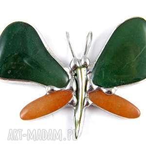 Wisior: Motyl z żółtym awenturynem, motyl, secesyjny, awenturyn, kamienie, zawieszka