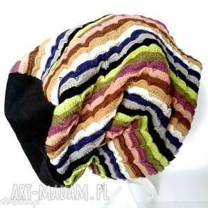 czapka damska kolorowa paski etno boho wełna handmade, wiosna,