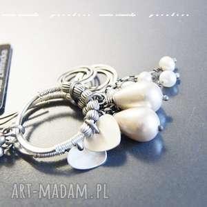 srebro kolczyki - naturalne perły ecri, perły, krople, zawieszki