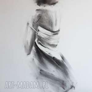 woman, grafika-do-salonu, obraz-do-salonu, rysunek-węglem, czarno-biała-grafika