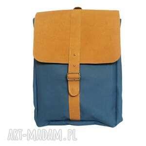 plecak vintage na laptopa niebieski, damski, vintage