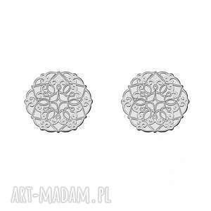 srebrne kolczyki ażurowe rozetki - srebrne kolczyki, kobiece