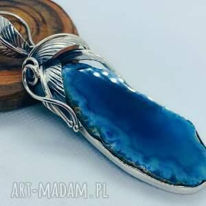 wisiorek z agatem srebro niebieski plaster, bursztynem, damska