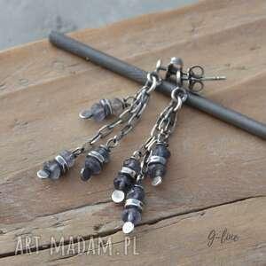 szafir wodny wiszące srebrne kolczyki na sztyftach, wodny, iolit