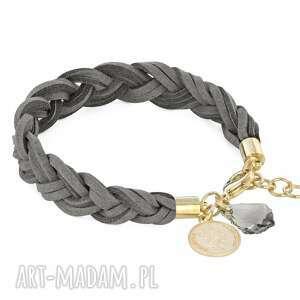 braid - grey gold, rzemyk, swarovski, moneta biżuteria