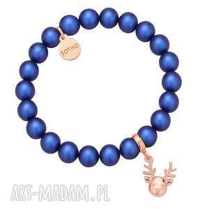 Granatowa bransoletka z pereł SWAROVSKI® CRYSTAL z reniferkiem z różowego złota -