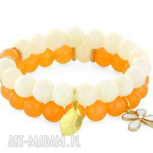 lavoga orange & cream jade with pendants - kwiatek, jadeit