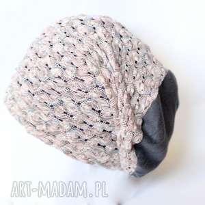 czapki czapka koronkowa damska, czapka, prezenty, koronka, dzianina, retro