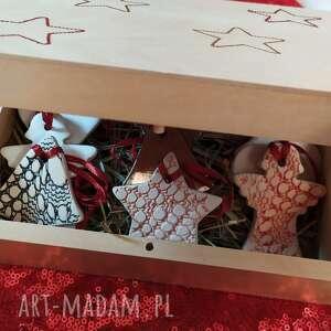ozdoby choinkowe w pudełeczku z siankiem, choinkowe, świąteczne