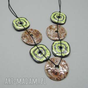 naszyjnik zieleń z efektownym brązem - naszyjnik, bizuteria, ceramika, prezent