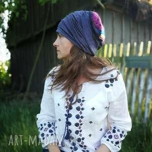 czapka długa smerfetka turban wełna crochet vintage, smerfetka, dresowa,