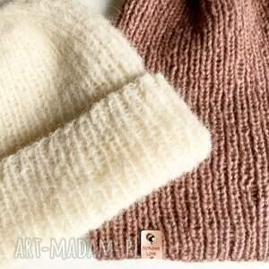 ręcznie robiona czapka hand made alpaka z merynosem ecru 01, czapka ecru,