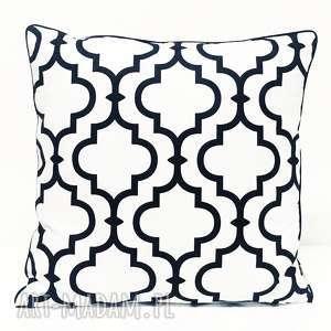 poduszki poduszka fresh black-white new 50x50cm, koniczyna marokańska