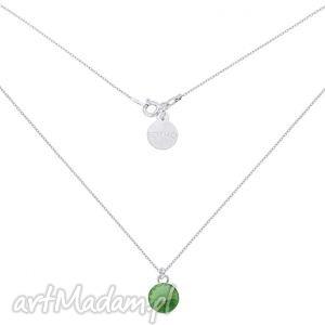 sotho srebrny naszyjnik z zielonym kryształem swarovski® - łańcuszek