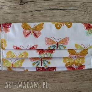 maseczka bawełniana - motylki na białym tle, maska, maseczka, maseczki, kolorowe