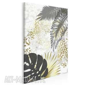 obraz na płótnie - liście złoty tropikalny w pionie 50x70 cm 89409