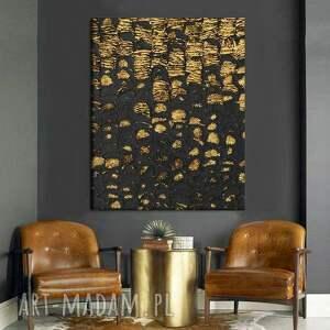oscuro - stylowy obraz do salonu czarno złoty elegancki glamour współczesny