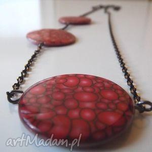 naszyjnik z porcelanowymi,okrągłymi płytami, naszyjnik, czerwień, łańcuch