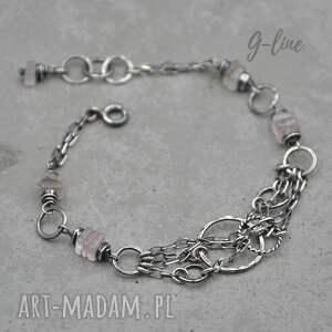 bransoletka z różowym kwarcem 095, kwarc różowy, srebro, dla mamy, surowa