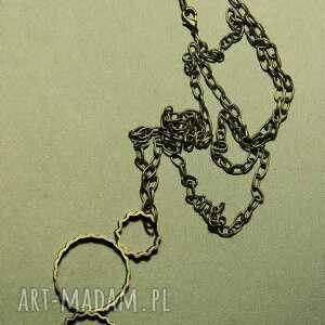 wisior mosiężny na łańcuchu - biżuteria, wisiorek, metal