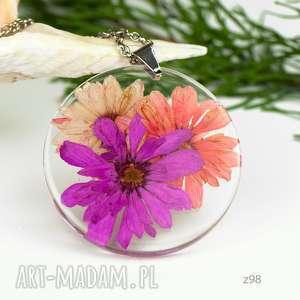 Prezent Naszyjnik z suszonymi kwiatami, Herbarium Jewelry, kwiaty w żywicy z98