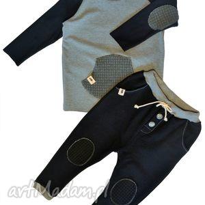 czarne spodnie typu jogger, spodnie, czarne, dres, łaty, bawełna, handmade dla