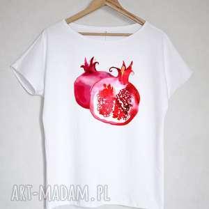 bluzki granaty koszulka bawełnina biała z nadrukiem l/xl, bluzka, koszulka