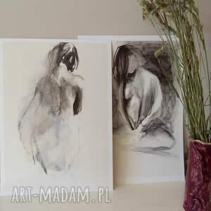 komplet grafik, obraz do salonu, grafika, kobieta obraz, czarno białe grafiki
