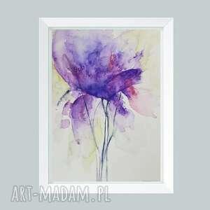 fioletowy kwiatek-akwarela formatu a4, akwarela, papier, kwiatek