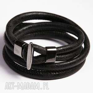 Prezent Podwójna bransoletka czarna, rzemień, ekologiczny, podwójna, minimalistyczna