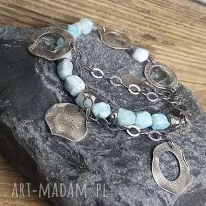Prezent Bransoletka srebrna z larimarem, larimar-srebro, modna-bransoletka