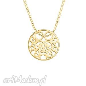 celebrate - circle 2 necklace g, celebrytka, zawieszka, koniczynka, pozłacany
