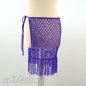 hand-made spódnice pareo fioletowe ażurowe z frędzlami