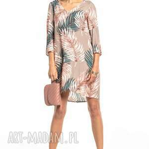 elegancka sukienka z kontrafałdą na plecach, t325, liście beżowym tle