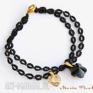 ręcznie robione cordes bransoletka wykonana z nici jubilerskiej w kolorze czarnym