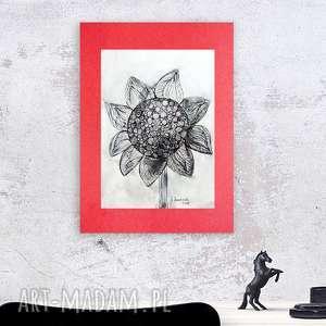 nowoczesna grafika, słonecznik rysunek tuszem, czarno-biała grafika